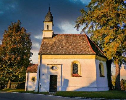 Church, Chapel, Village Church, Trees, Evening Light
