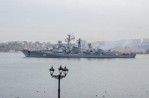 Ship, Warship, Sea, Silhouette, Military, War, Weapons