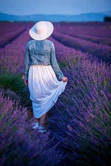 Lavender, Fields, Hat, Purple, Nature, Fragrance, Girl