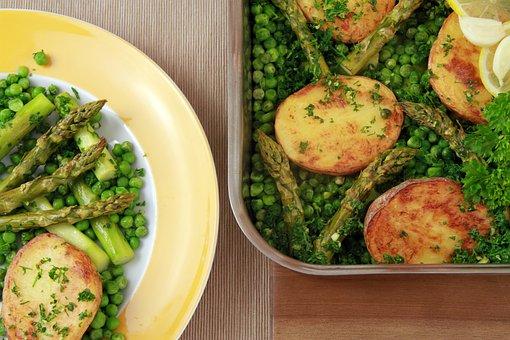 Potatoes, Asparagus, Peas, Baked Potatoes, Healthy