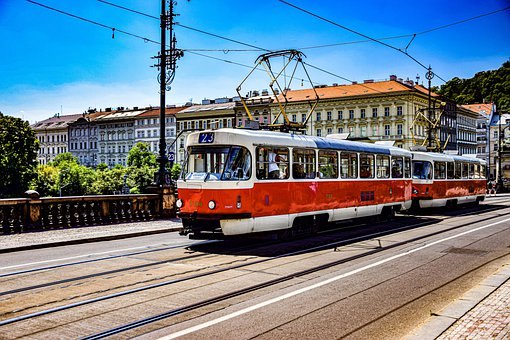 Prague, Tram, Traffic, Europe, Gleise