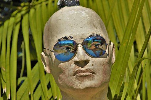 Creepy, Statue, Head, Bald, Tropical, Man, Wearing