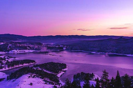 Landscape, View, Bulgaria, Dam, Lake, Panorama, Purple