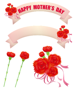 Mother'S Day Tags, Carnations, Labels