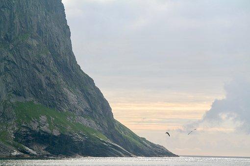 Mountain, Cliff, Sunset, Sea, Coast