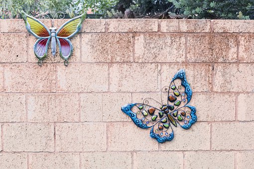 Wall, Backyard, Flat, Butterfly, Ornaments, Design
