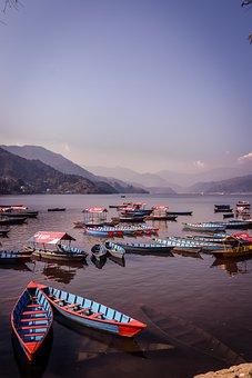 Boat, Pokhara, Nepal, Asia, Hills, Adventure, Blue