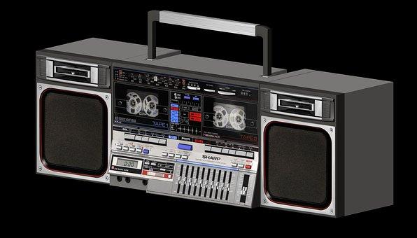 Boombox, Boom, Box, Ghetto, Blaster, Stereo, Retro