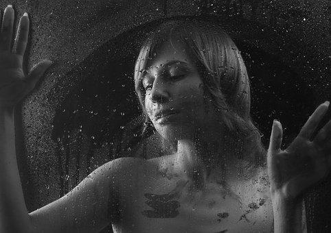 Portrait, Girl, Drops, Glass, Window, In The Window