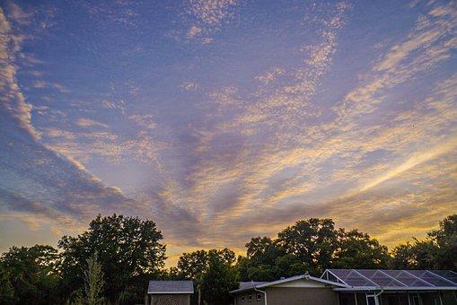 Sunset, Backyard, House, Garden, Landscape, Outdoor