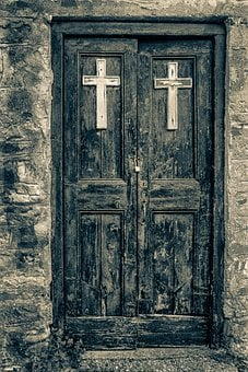 Door, Goal, Old, Weathered, Monochrome, Architecture