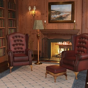 Library, Chairs, Fireplace, Books, Lamp, Rug, Study