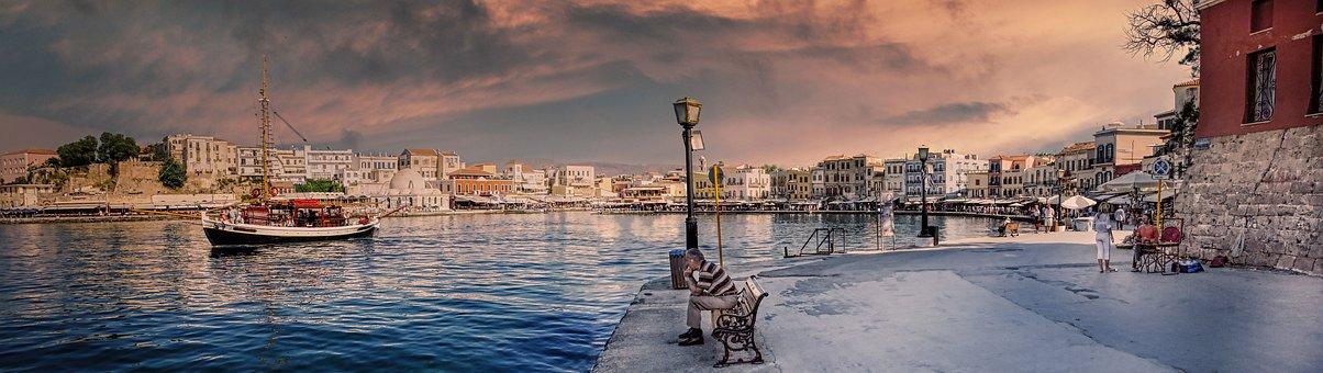 Crete, Greece, Port, Venetian, Fisherman, Coast