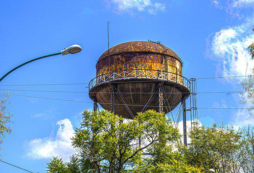 Water Tower, Hdr, Water, Sky, Tower Trees, City
