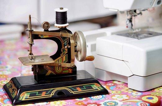 Hobby, Vintage, Sew, Child, Girl, Sewing Machine
