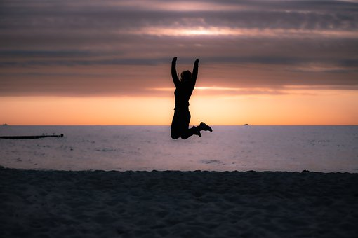 Jump, Joy Of Life, Sea, Sunset, Woman, Cheers, Joy