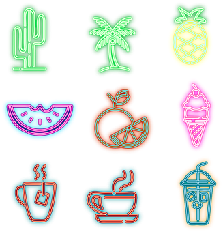 Neon, Coffee, Food, Ice Cream, Pineapple, Cactus