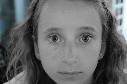 Eyes, Child, Face, Girl, Eye, Young, Fear, Skin