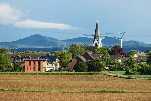 Village, Church, Mountains, Steeple, Landscape, Rural