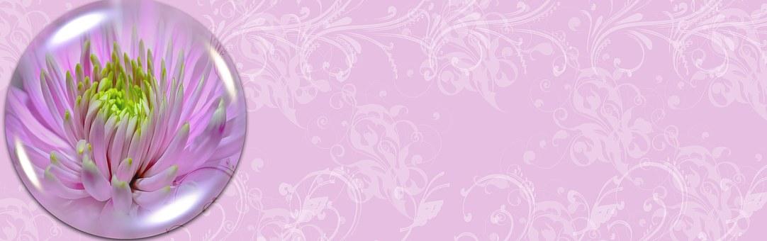 Banner, Header, Background, Glass Ball, Floral, Pattern