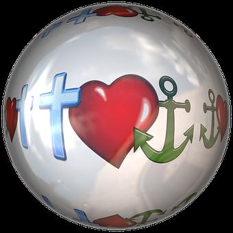 Cross, Heart, Anchor, Ball, Round, Love, Hope
