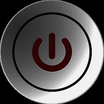 Button, On, Off, Start, Stop, Symbol, Round, Gray