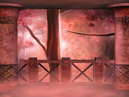 Background, Fantasy, Forest, Magic, Building, Column
