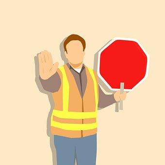 Crossing, Guard, Sign, Stop, Worker, Collar, Job