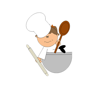Chef, Cook, Cartoon, Cute, Kitchen, Spoon, Rolling Pin