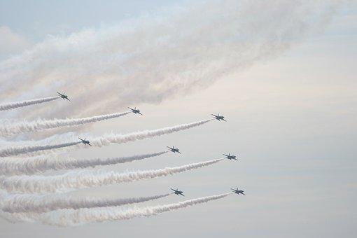 Airshow, Jet, Team, Airforce, Aircraft, Gray Team