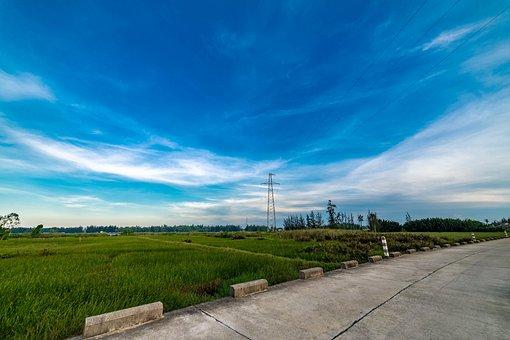 Sky, Grass, Landscape, Field, Road, Green, Blue