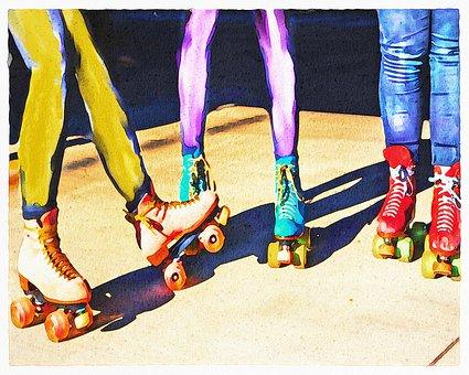 Watercolor, Girls Roller Skate, Skating, Legs, Girl
