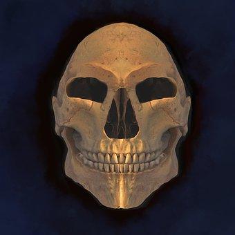 Skull, Halloween, Dead, Skeleton, Horror, Grin, Golden