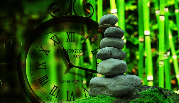Clock, Time, Stone, Balance, Meditation, Live