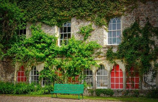 Castle, England, Bank, Park, Window, Facade, Overgrown
