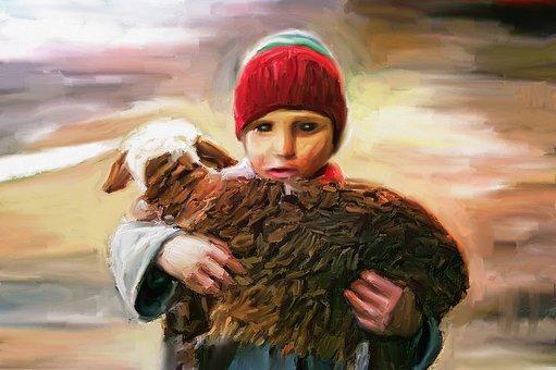 Portrait, People, Boy, Lamb, Art