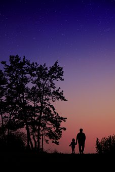 Dad, Daughter, Evening, Tree, Forest, Silhouette