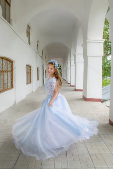 Girl, Dress, Spinning, Columns, Princess