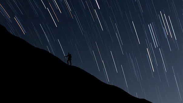 Man, Hiking, Hill, Night, Stars, Digital Painting, View