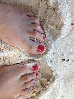 Feet, Nail Varnish, Red, Sand, Beach, Female, Summer