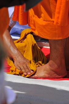 Washing, Cleaning, Feet, Buddhists Monks, Monks