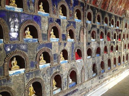 Temple, Burma, Wall, Stone, Figurines, Cubby Holes