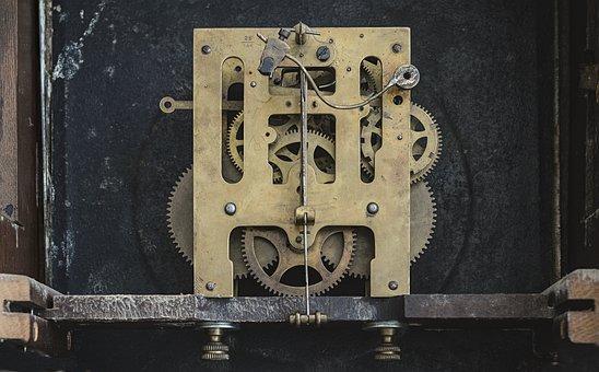 Clock, Gears, Inside, Equipment, Metal, Technology