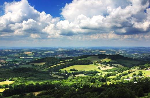 Malvern, Hills, Landscape, England, Sky, Uk, Rural