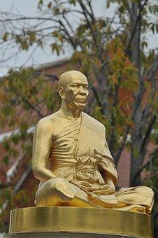 Budha, Monk, Gold, Buddhism, Phramongkolthepmuni