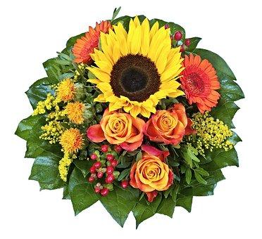 Floristenstrauss, Sun Flower, Rose, Gerbera