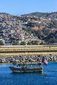 Chile, Sea, Baron Dock, Sky, Hills