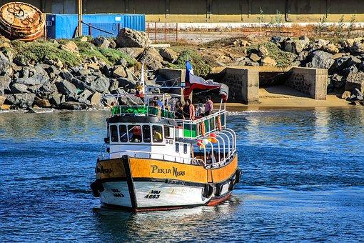 Rocks, Boat, Spring, Chile, Sea, Baron Dock, Sky, Hills