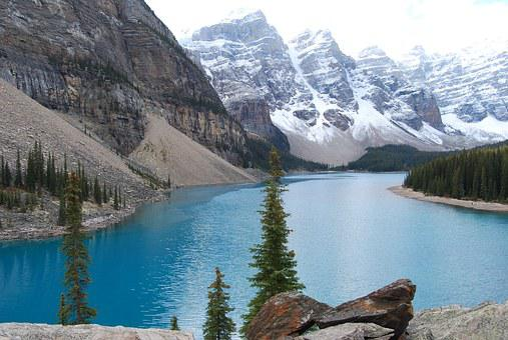 Banff, Rockies, Canada, Lake, Snow, Evergreens