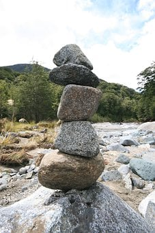 Stones, Stacked, River, Balance, Zen, Relaxation